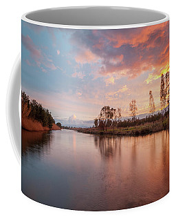 Red Sunset On The Pond Coffee Mug