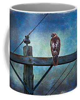 Red-tailed Hawk On Power Pole Coffee Mug