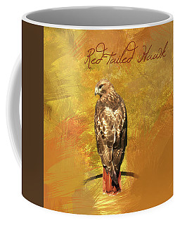 Coffee Mug featuring the photograph Red-tailed Hawk Watercolor Photo by Heidi Hermes