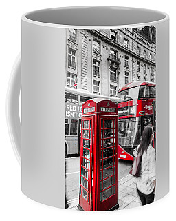 Red Telephone Box With Red Bus In London Coffee Mug