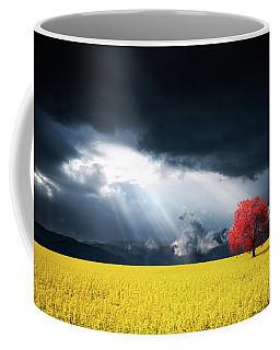 Red Tree On Canola Meadow Coffee Mug
