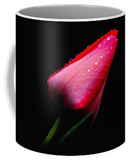 Red Tulip With Raindrops Coffee Mug by Trina Ansel