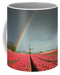 Red Tulips, A Windmill And A Rainbow Coffee Mug