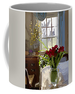 Red Tulips And Forsythia In East Gloucester, Ma Dining Room Coffee Mug