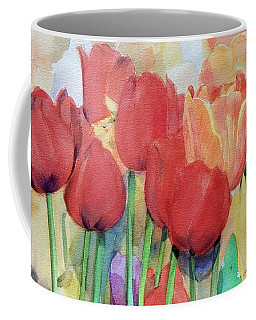 Watercolor Of Blooming Red Tulips In Spring Coffee Mug