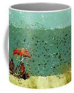 Red Umbrella Beach Coastal Coffee Mug by Rebecca Korpita