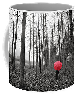 Red Umbrella In An Allee Coffee Mug