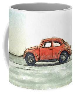 Red Vw Beetle Bug Pencil Coffee Mug