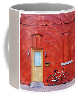 Red Wall White Bike Coffee Mug