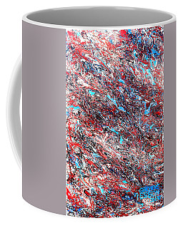 Coffee Mug featuring the painting Red White Blue And Black Drip Abstract by Genevieve Esson