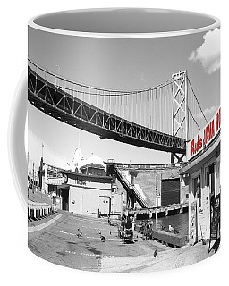 Reds Java House And The Bay Bridge In San Francisco Embarcadero . Black And White And Red Coffee Mug