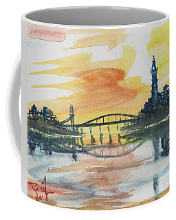 Coffee Mug featuring the painting Reflecting Bridge by Reed Novotny