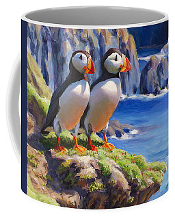 Horned Puffins - Coastal Decor - Alaska Landscape - Ocean Birds - Shorebirds Coffee Mug