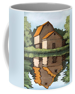 Coffee Mug featuring the painting Reflecting by Inese Poga