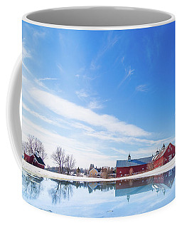 Reflection Of A Barn In Winter Coffee Mug