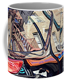Coffee Mug featuring the photograph Reflection On A Parked Car 18 by Sarah Loft