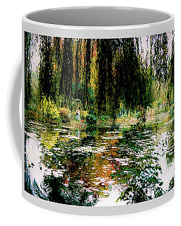 Coffee Mug featuring the photograph Reflection On Oscar - Claude Monet's Garden Pond by D Davila