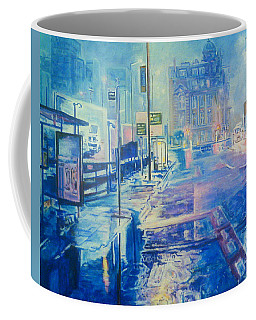 Reflections At Night In Manchester Coffee Mug