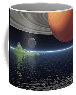Coffee Mug featuring the digital art Reflections Of Saturn by Phil Perkins