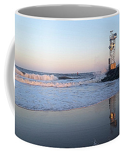 Coffee Mug featuring the photograph Reflections Of The Inlet Jetty by Robert Banach