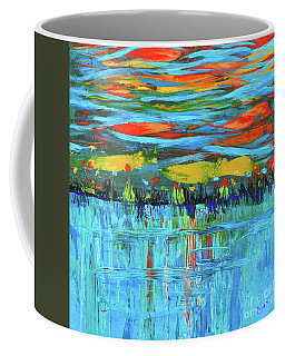 Reflections Sky And Landscape Abstract Coffee Mug by Haleh Mahbod