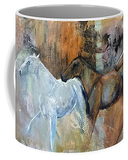 Coffee Mug featuring the painting Reflextion Of The White Horse by Frances Marino