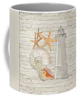 Refreshing Shores - Lighthouse Starfish Nautilus N Conch Over Driftwood Background Coffee Mug