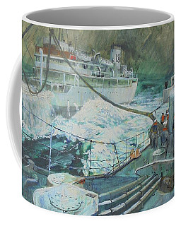 Coffee Mug featuring the painting Refuelling At Sea. by Mike Jeffries