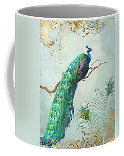 Regal Peacock 1 On Tree Branch W Feathers Gold Leaf Coffee Mug