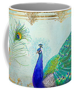 Regal Peacock 2 W Feather N Gold Leaf French Style Coffee Mug