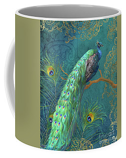 Coffee Mug featuring the painting Regal Peacock 3 Midnight by Audrey Jeanne Roberts