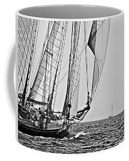 Regatta Heroes In A Calm Mediterranean Sea In Black And White Coffee Mug
