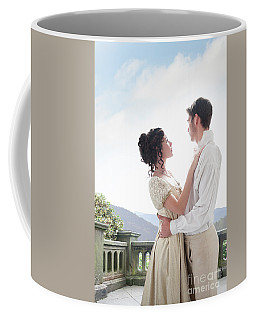 Regency Couple Embracing On The Terrace Coffee Mug by Lee Avison