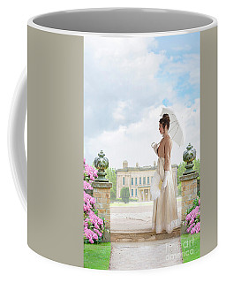 Regency Woman In The Grounds Of A Historic Mansion Coffee Mug