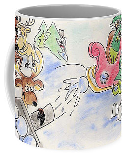 Coffee Mug featuring the pastel Reindeer Games by Vonda Lawson-Rosa