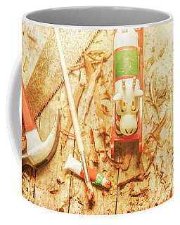 Reindeer With Tools And Wood Shavings Coffee Mug