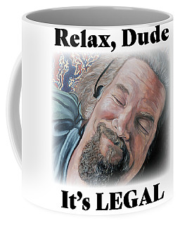 Coffee Mug featuring the painting Relax, Dude by Tom Roderick