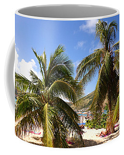 Relaxing On The Beach. Pinel Island Saint Martin Caribbean Coffee Mug