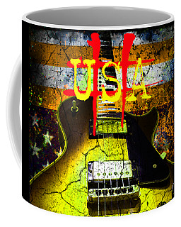 Coffee Mug featuring the digital art Relic Guitar Music Patriotic Usa Flag by Guitar Wacky