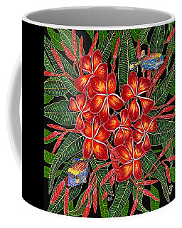 Coffee Mug featuring the painting Tropical Fish Plumerias by Debbie Chamberlin