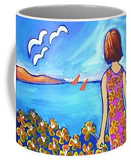Coffee Mug featuring the painting Remembering Joy by Winsome Gunning