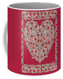 Renaissance Style Heart With Dark Red Background Coffee Mug