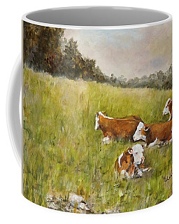 Coffee Mug featuring the painting Repose by Alan Lakin