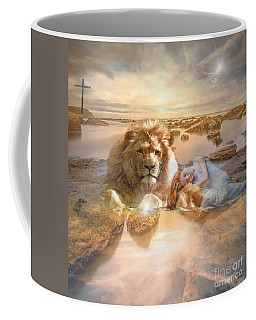 Coffee Mug featuring the mixed media Divine Rest by Jessica Eli