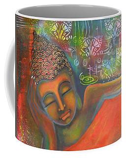 Buddha Resting Against A Colorful Backdrop Coffee Mug by Prerna Poojara