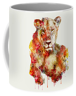Resting Lioness In Watercolor Coffee Mug