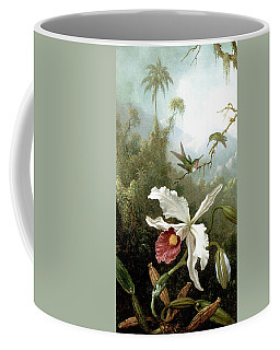 Retouched Masters - Orchid And Hummingbirds In Tropical Forest Coffee Mug