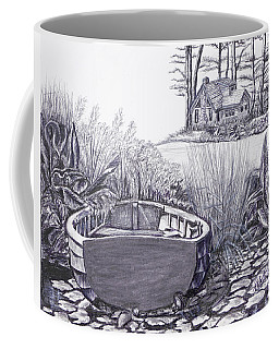 Coffee Mug featuring the drawing Retreat by Elly Potamianos