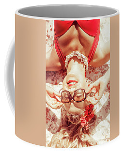 Retro 50s Beach Pinup Girl Coffee Mug