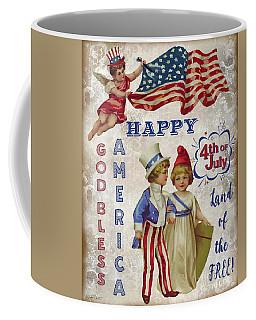 Coffee Mug featuring the digital art Retro Patriotic-c by Jean Plout